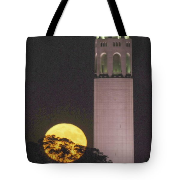 Coit Tower And Harvest Moon Tote Bag