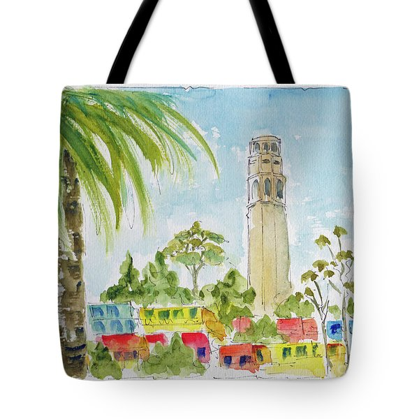 Tote Bag featuring the painting Coit Tower by Pat Katz