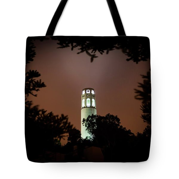 Coit Tower Through The Trees Tote Bag
