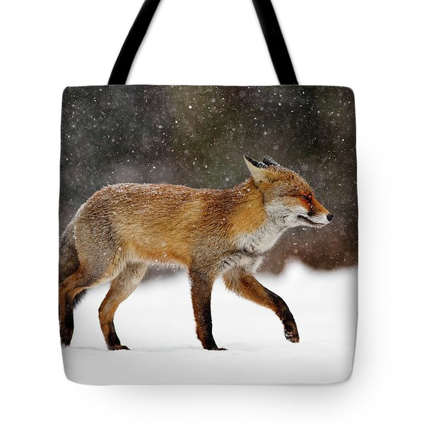 Cold As Ice - Red Fox In A Snow Blizzard Tote Bag