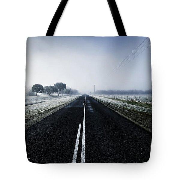 Cold Blue Winter Road Tote Bag