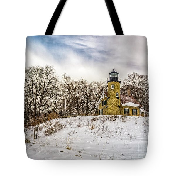 Tote Bag featuring the photograph Cold Day At White River Lighthouse by Nick Zelinsky