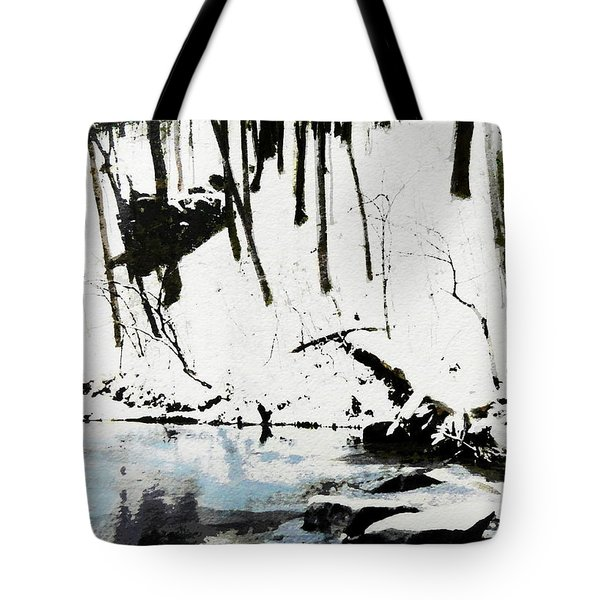 Cold Snow Hill Trees Multimedia Sketch Washington Dc Fine Art Tote Bag