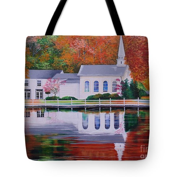 Tote Bag featuring the painting Cold Spring Harbor St Johns Church by Nereida Rodriguez