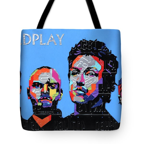 Coldplay Band Portrait Recycled License Plates Art On Blue Wood Tote Bag
