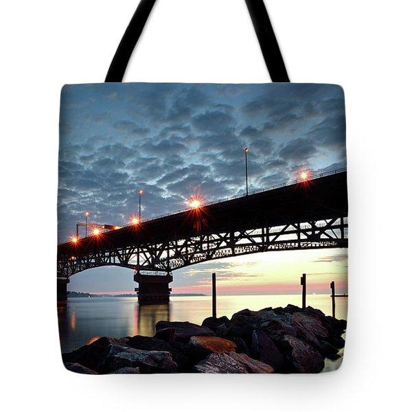 Coleman Bridge Reflections Tote Bag