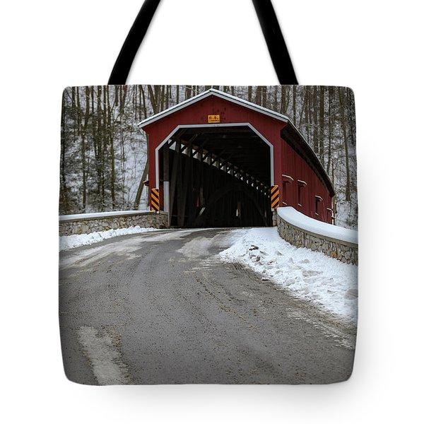 Colemansville Covered Bridge After Winter Snow Tote Bag