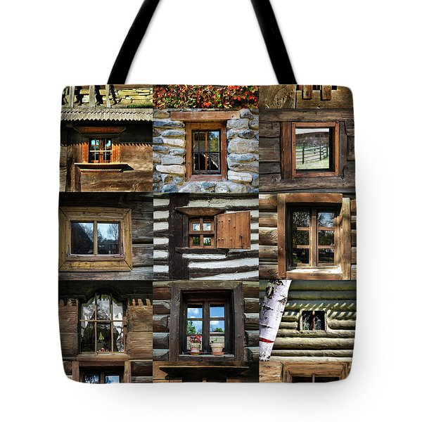 Collage From Handmade Traditional Wooden  Windows In Village Museum Bucharest Tote Bag