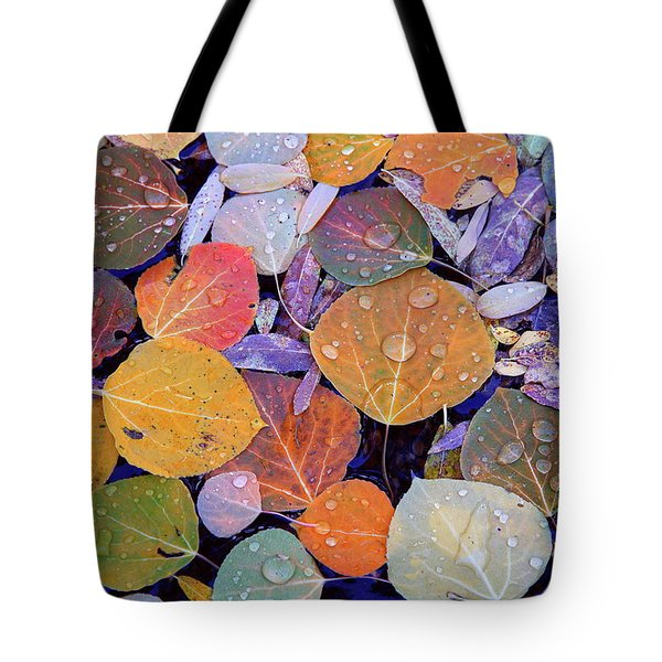 Collage Of Aspen Leaves At Mcgee Creek In The Eastern Sierras Tote Bag