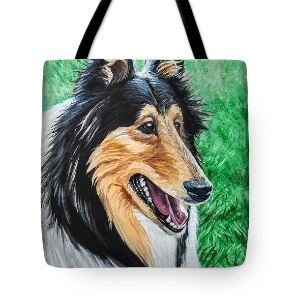 Tote Bag featuring the painting Collie by Jennifer Hotai