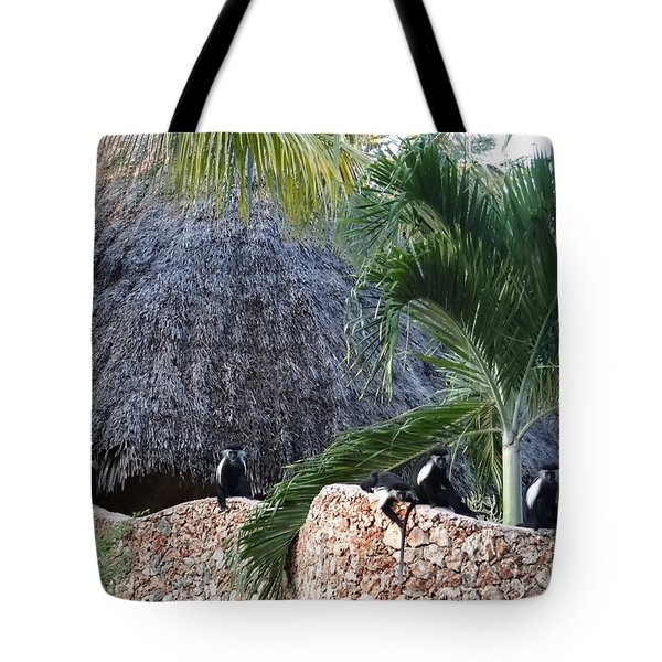 Colobus Monkey Resting On A Wall Tote Bag