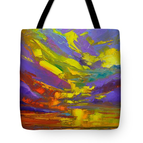 Tote Bag featuring the painting Coloful Sunset, Oil Painting, Modern Impressionist Art by Patricia Awapara