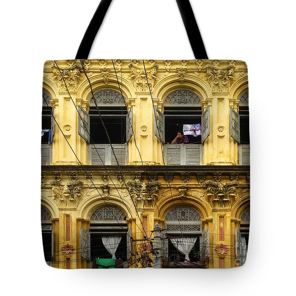 Colonial Facade Bo Soon Pat Street 8th Ward Central Yangon Burma Tote Bag by Ralph A  Ledergerber-Photography