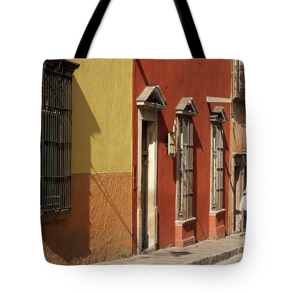 Tote Bag featuring the photograph Colonial House Facades San Miguel De Allende Mexico by John  Mitchell