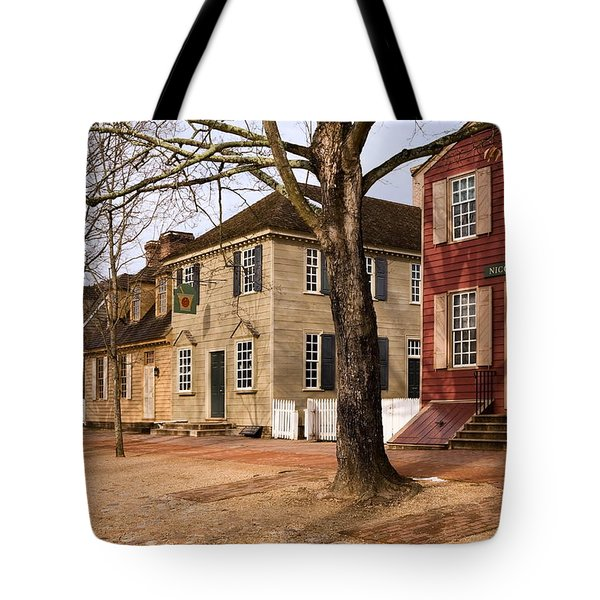 Colonial Street Scene Tote Bag by Sally Weigand