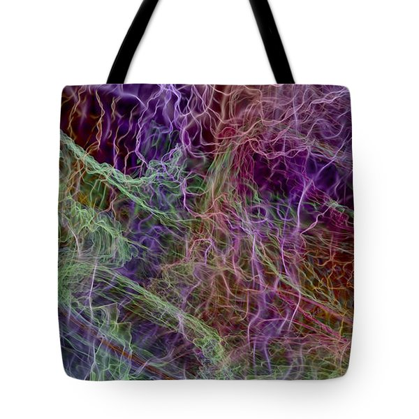 Tote Bag featuring the digital art Color Abstract Smoke by Matt Lindley