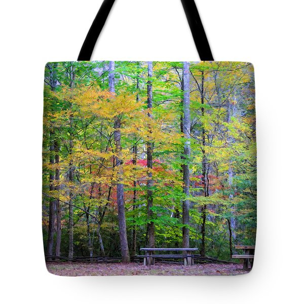 Color Benches Tote Bag