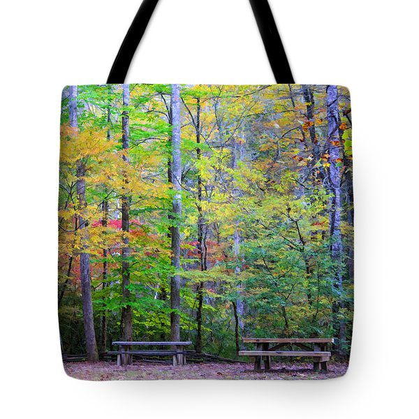 Tote Bag featuring the photograph Color Benches by Claire Turner