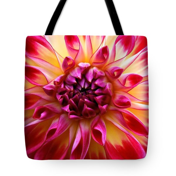 Color Burst Dahlia  Tote Bag