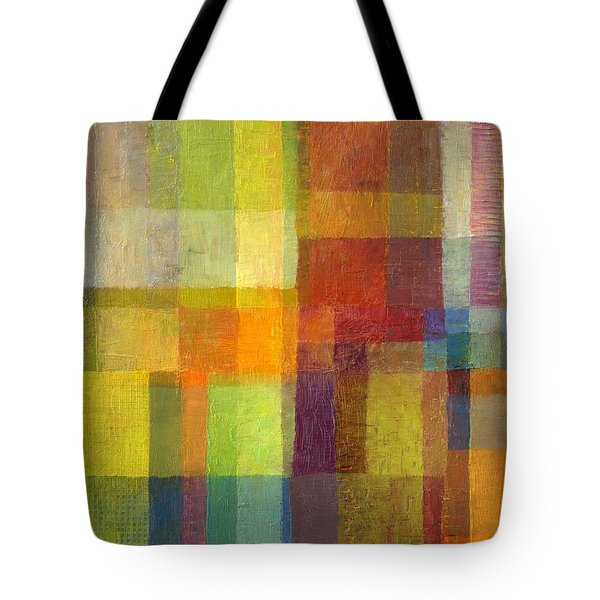 Tote Bag featuring the painting Color Collage With Green And Red 2.0 by Michelle Calkins