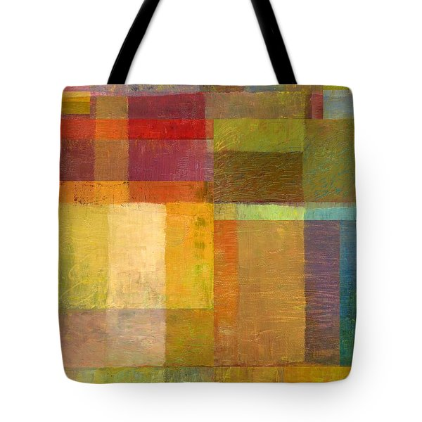 Tote Bag featuring the painting Color Collage With Green And Red by Michelle Calkins