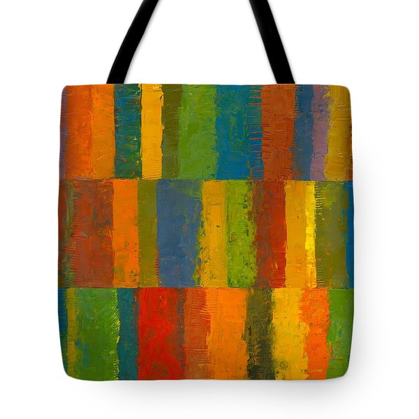 Tote Bag featuring the painting Color Collage With Stripes by Michelle Calkins