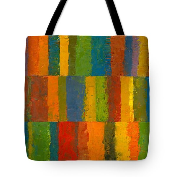 Color Collage With Stripes Tote Bag by Michelle Calkins