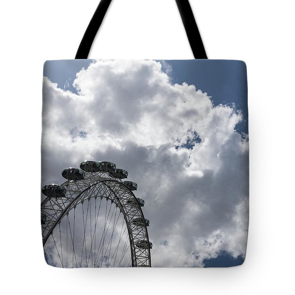 Color Coordinated Skyward View - The London Eye Against Dramatic Sky Tote Bag