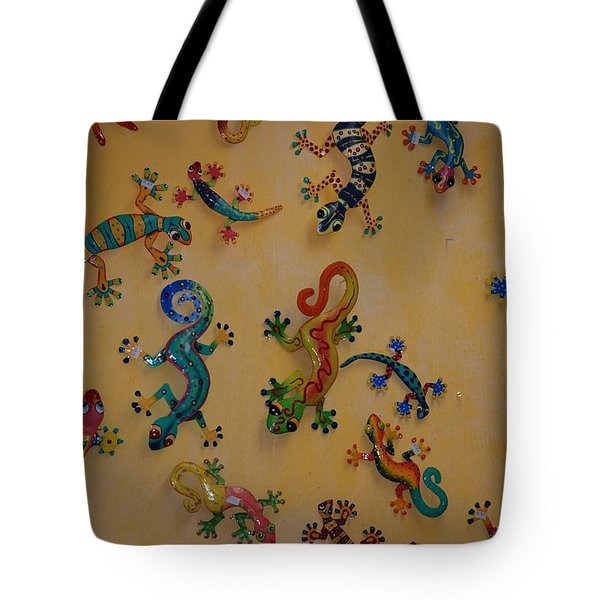 Color Lizards On The Wall Tote Bag by Rob Hans
