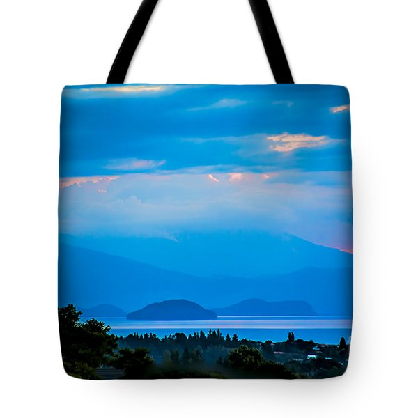 Color Over The Lake Tote Bag by Rick Bragan