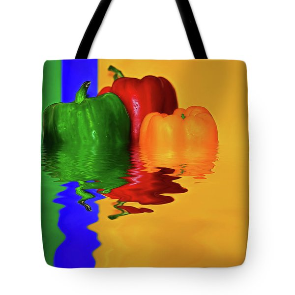 Tote Bag featuring the photograph Color Pop Peppers By Kaye Menner by Kaye Menner