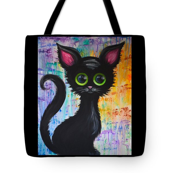 Color Rain And A Cat Tote Bag by Agata Lindquist