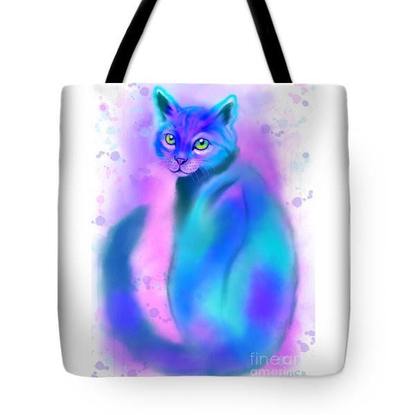 Tote Bag featuring the painting Color Wash Cat by Nick Gustafson