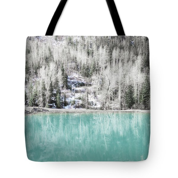 Colorado Aqua Woodland Forest Landscape Tote Bag by Andrea Hazel Ihlefeld