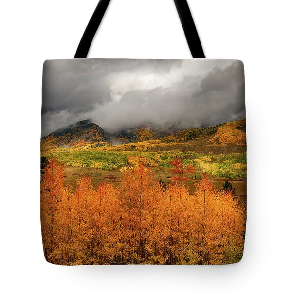 Tote Bag featuring the digital art Colorado Fall Colors  by OLena Art Brand