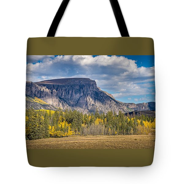 Colorado Fall Landscape With Aspen Trees Between Creede And Lake Tote Bag by John Brink