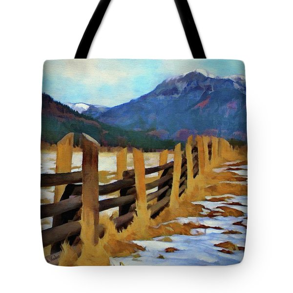 Tote Bag featuring the painting Colorado Fence Line  by Jeff Kolker