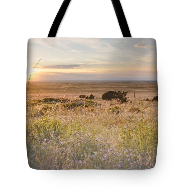 Colorado Field Sunset Landscape Tote Bag by Andrea Hazel Ihlefeld