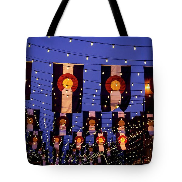 Colorado Flags On Larimer Square Denver Tote Bag