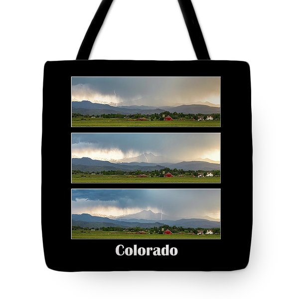 Tote Bag featuring the photograph Colorado Front Range Longs Peak Lightning And Rain Poster by James BO Insogna