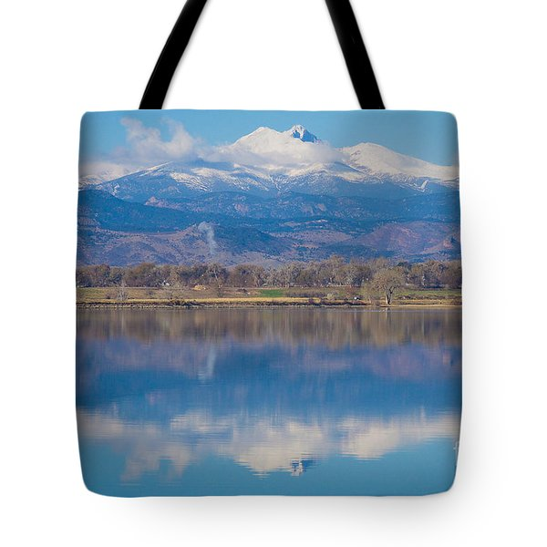 Colorado Longs Peak Circling Clouds Reflection Tote Bag