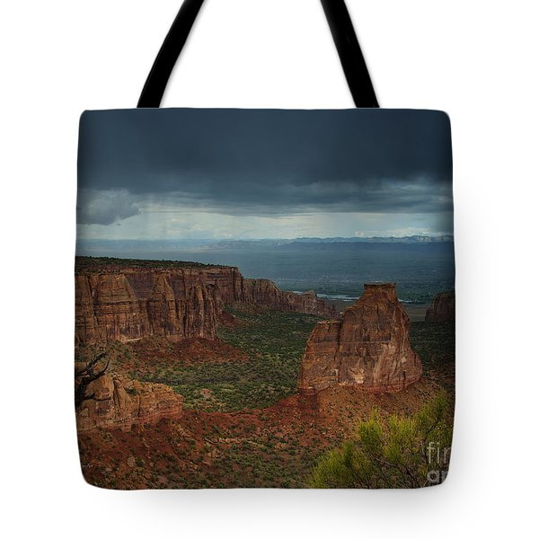 Colorado National Monument Storm National Park Tote Bag by Nature Scapes Fine Art
