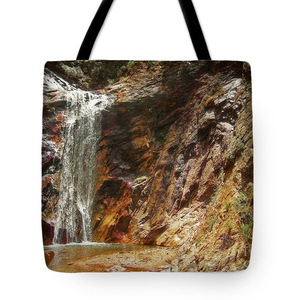 Tote Bag featuring the photograph Colorado Red Rock Waterfall by Andrea Hazel Ihlefeld