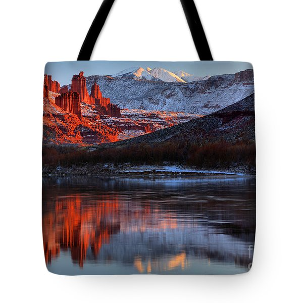 Tote Bag featuring the photograph Colorado Red Tower Reflections by Adam Jewell