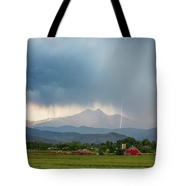 Tote Bag featuring the photograph Colorado Rocky Mountain Red Barn Country Storm by James BO Insogna