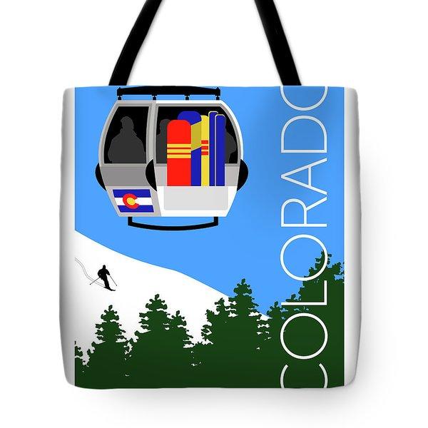 Colorado Ski Country Blue Tote Bag