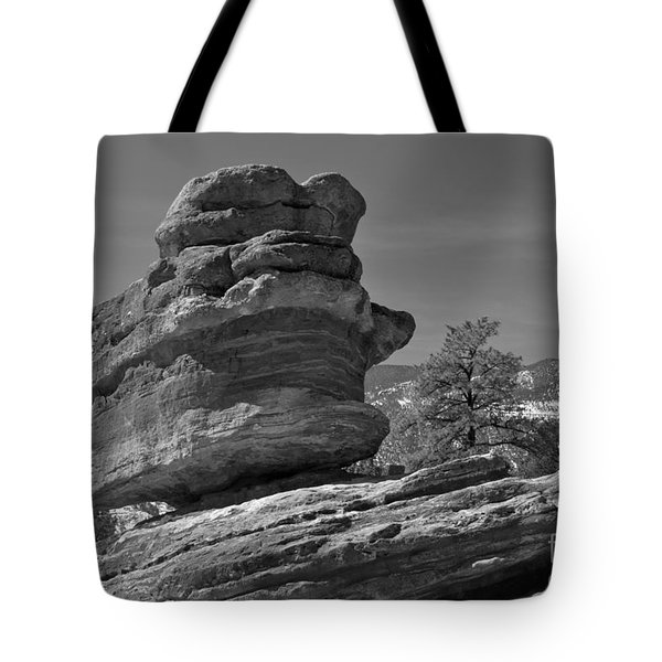 Tote Bag featuring the photograph Colorado Springs Balanced Rock Black And White by Adam Jewell