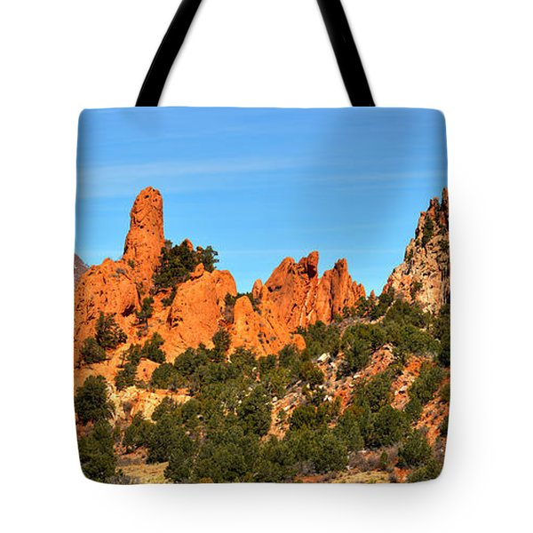 Tote Bag featuring the photograph Colorado Springs Garden Of The Gods High Point Panorama by Adam Jewell