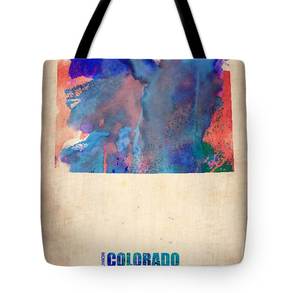 Colorado Watercolor Map Tote Bag