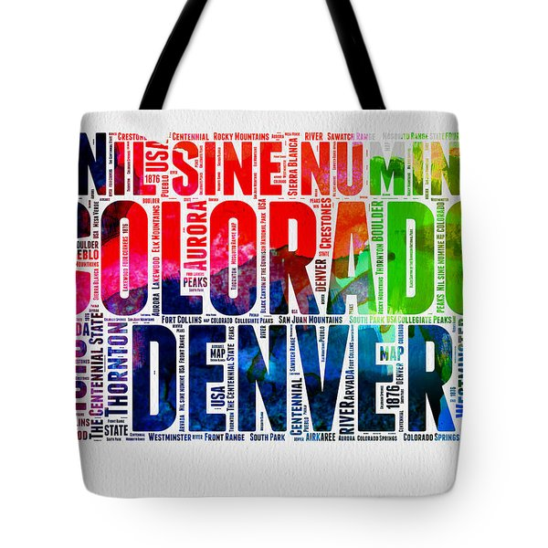 Colorado Watercolor Word Cloud Map  Tote Bag